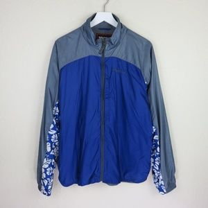 Marmot Blue Floral Hawaiian Pattern Windbreaker